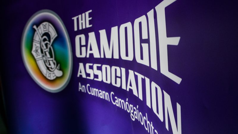 A view of Camogie Association branding at the photocall 4/9/2018