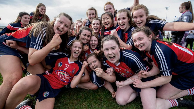 Leah O'Donoghue celebrates with teammates 23/3/2019