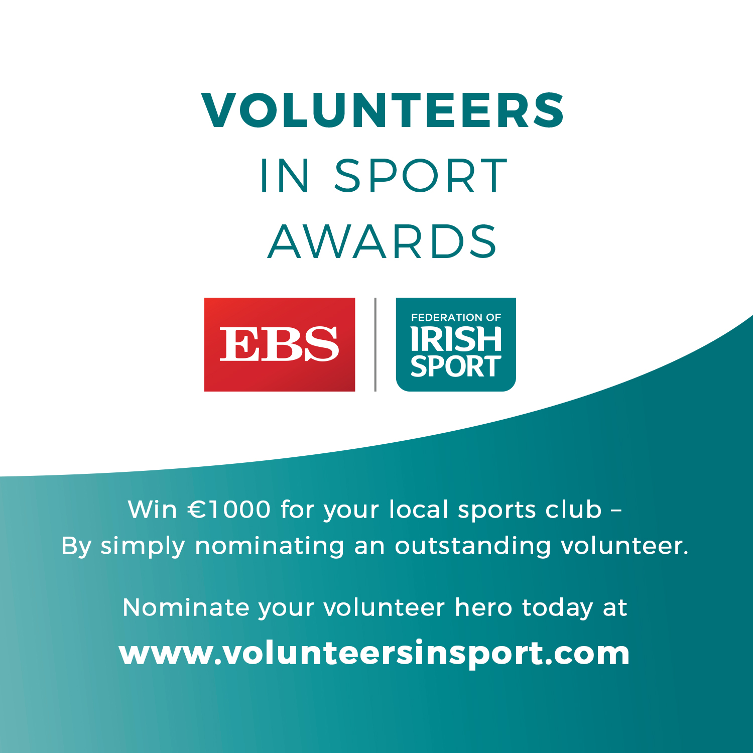 Nominations open for Volunteers in Sports Awards, by EBS and Federation of Irish Sport